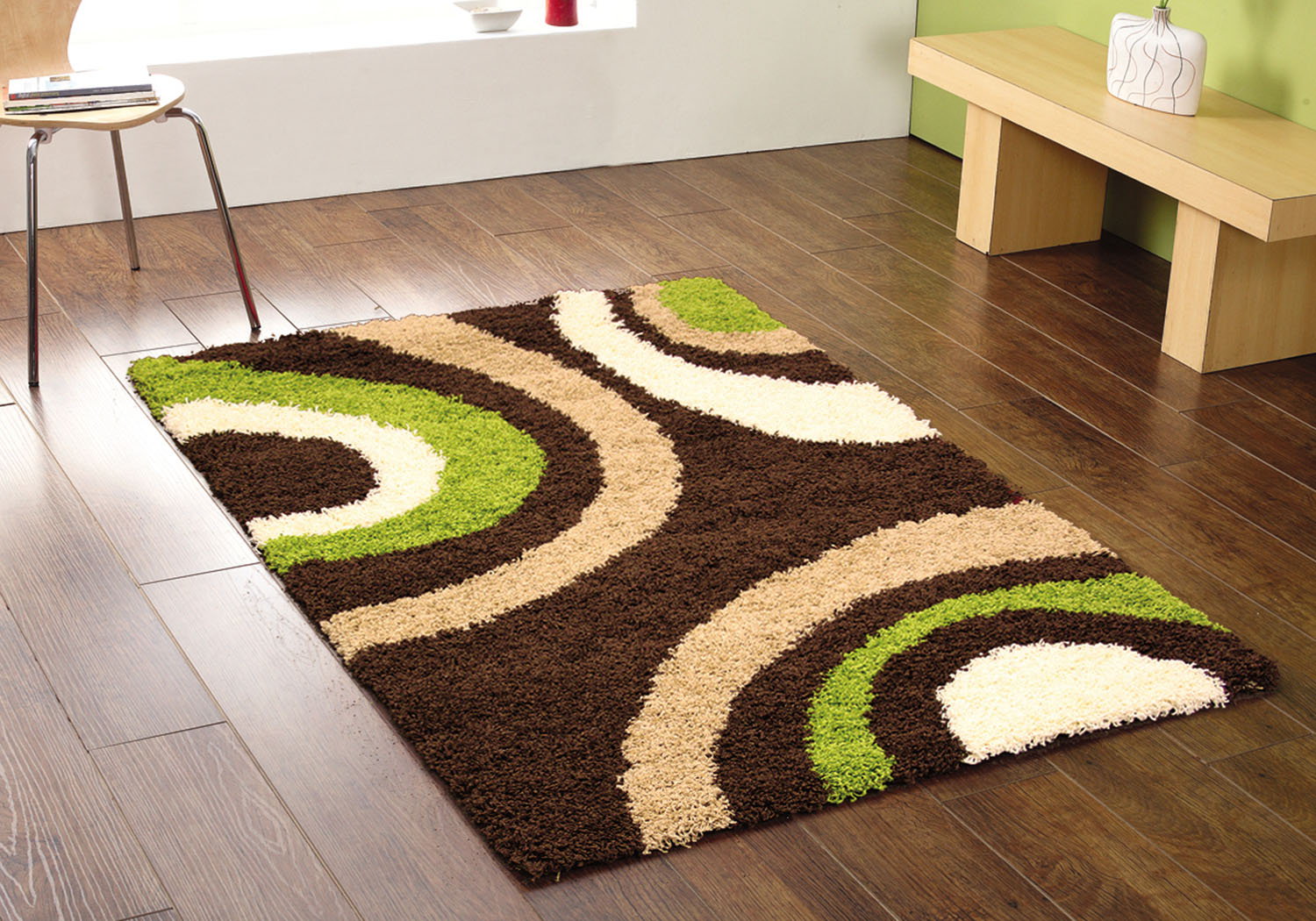 Brown Green Arc Rug 5cm Thick Pile