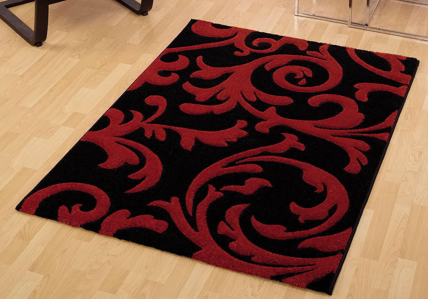 Black Red Small Large Abstract Carved