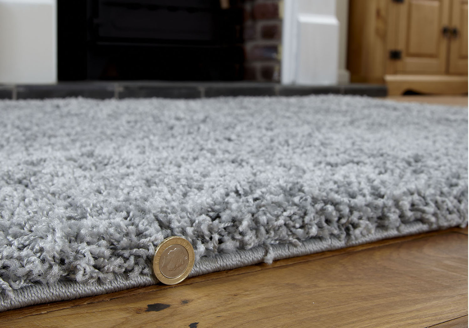 Thick Shaggy Rug Silver Grey Size