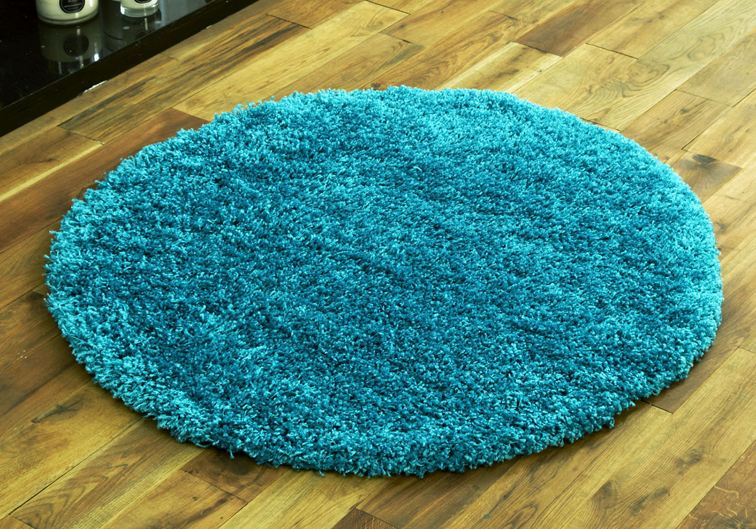 Small Quality Modern Round Circle 110cm Thick 5cm High Turquoise Blue Shag Rug 5055747000979 Ebay