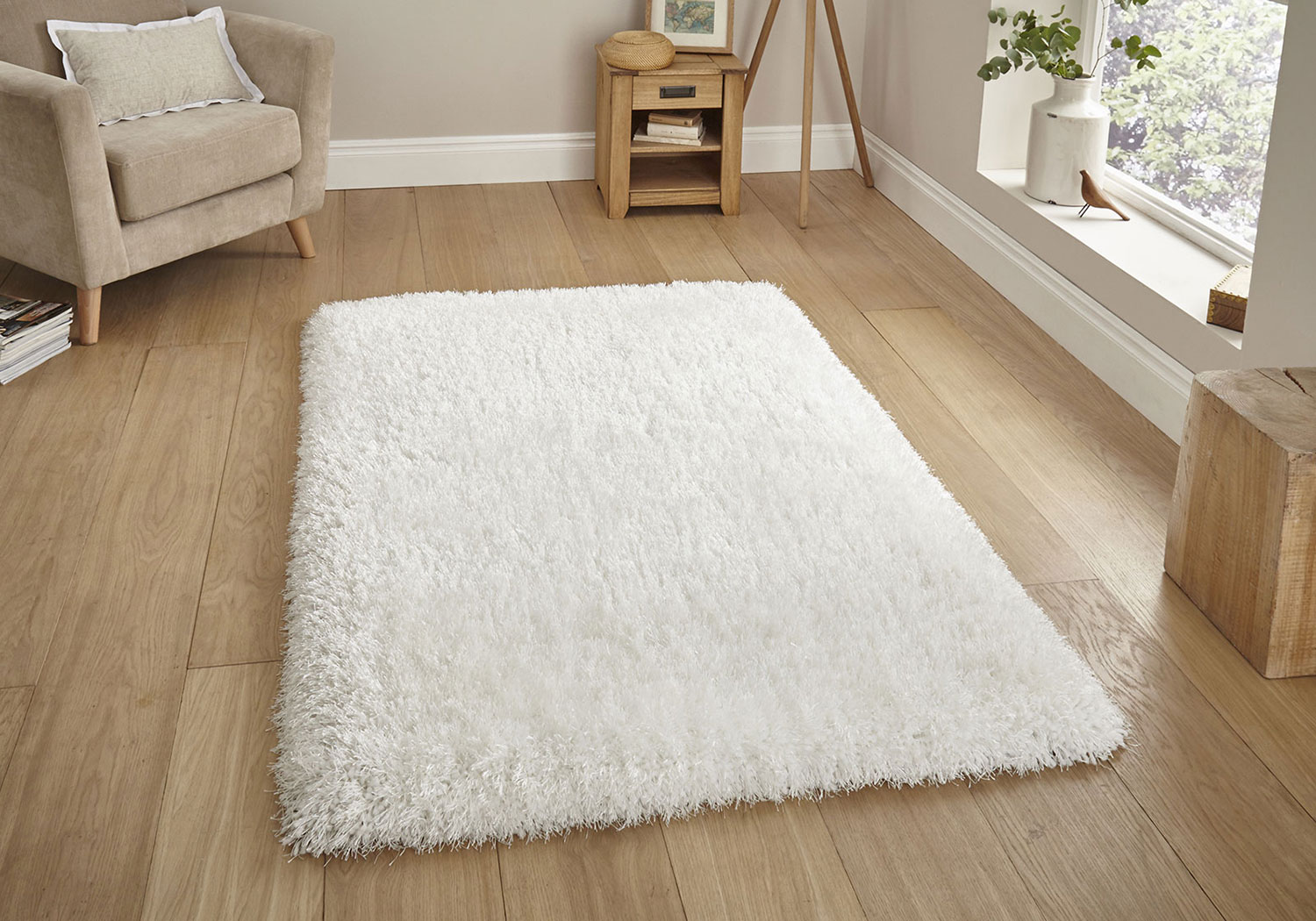 Ivory White Small Large Shaggy Thick Dense 8cm Pile Modern Luxury Non Shed Rug Ebay
