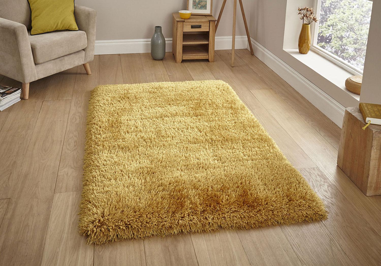 Big Thick Super Cozy Soft Ochre Gold Mustard Yellow Shaggy Rug Living Bedroom